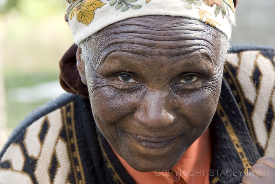 A spirited member of the grandmother's group in Ndathi.