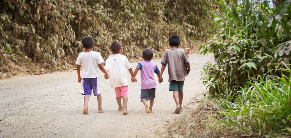 Four little friends hold hands as they walk home to Ocho de Augusto, a small indigenous farming community in Guatemala's Polochic Valley. The people here are currently risking their lives, having been evicted once before, in an effort to gain title to the government land that they are currently occupying.
